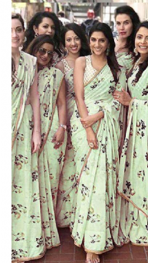 Floral  Mint Green Saree